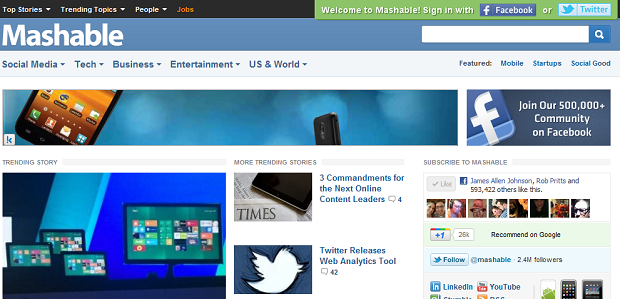 Mashable Navigation Bar with Entertainment