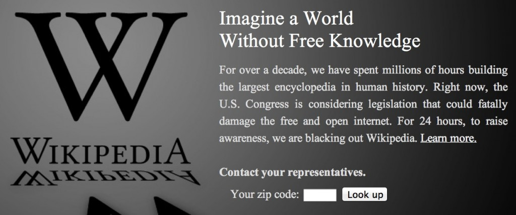 wikipedia blackout SOPA PIPA